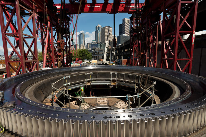 This July 2015 photo shows the SR 99 tunneling machine's main bearing encircled by the gear ring that facilitates rotation of the cutterhead.