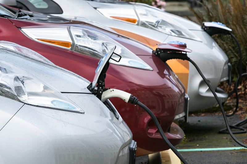 Electric vehicles charging on the state Capitol campus in Olympia, Washington.