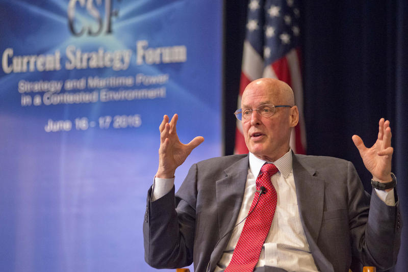 Former Secretary of the Treasury Henry M. Paulson, Jr. speaks during the U.S. Naval War College 2015 Current Strategy Forum in Newport, Rhode Island on June 17.