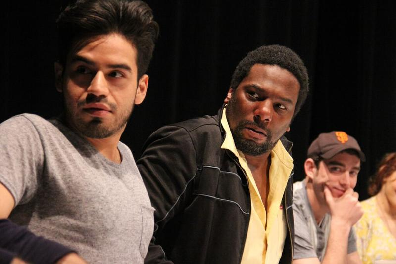 Moises Castro, Reginald André Jackson, and Riley Shanahan in an Intiman workshop of 'John Baxter Is a Switch Hitter'  at the Intiman.