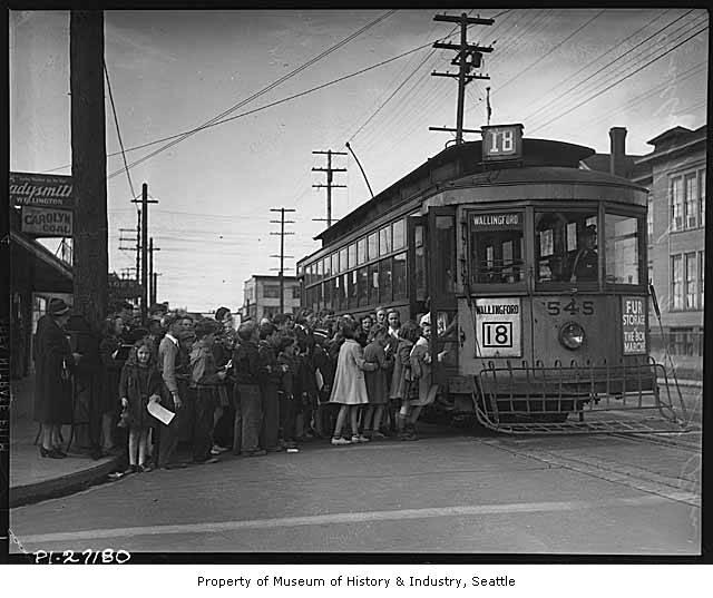 The Wallingford streetcar line connected downtown Seattle with the outlying areas of Wallingford and the University District. In May 1940, the streetcars stopped running and were replaced by buses.
