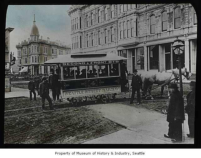 In September 1884, Washington Territory's first streetcar line opened in Seattle. By the end of the year, the line had three miles of track and four streetcars which were operated by a total of ten men and twenty horses.