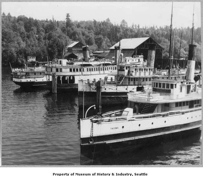 Mosquito fleet steamers are seen at Houghton, Wash., in 1945.
