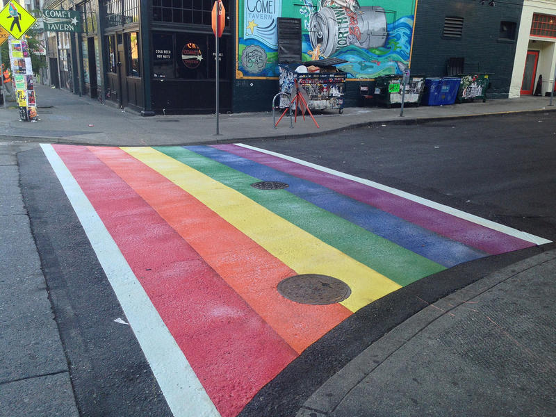 Capitol Hill rainbow crosswalk at 10th Ave & East Pike Street.
