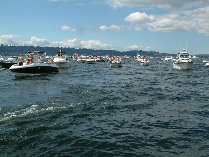 Boats crowd Lake Washington during a past Seafair weekend.