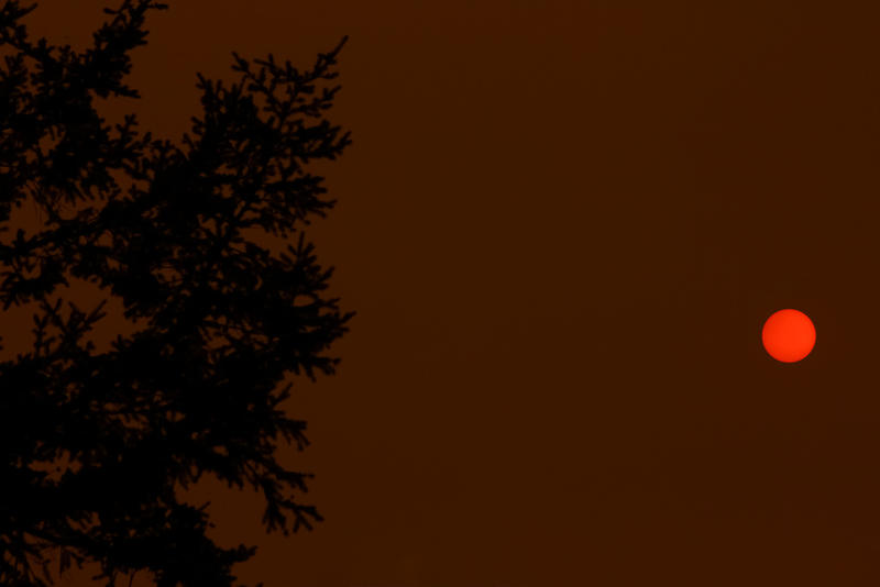 Smoky skies from wildfires in Vancouver makes for an orange sun as it sets.
