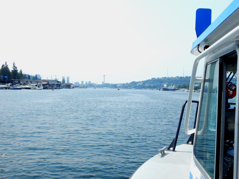 A view of Lake Union from Seattle Harbor Patrol 2. Drownings often occur on sunny days and because of drunk boating.