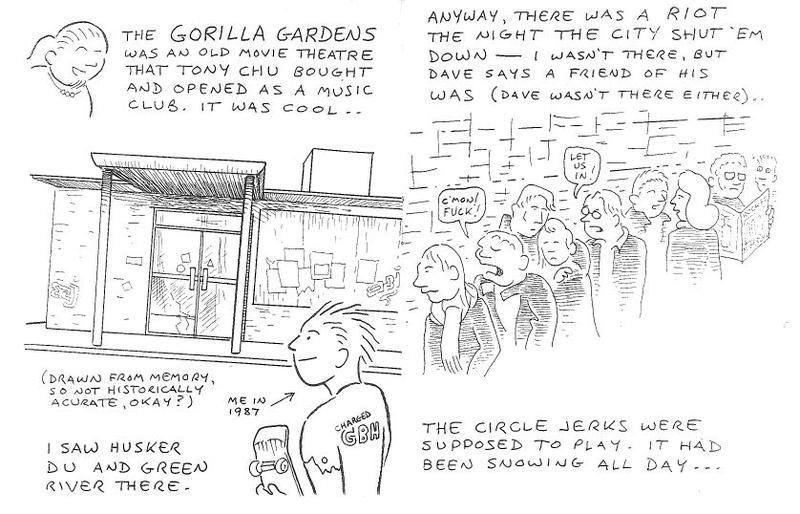 Gorilla Gardens zine, page 1. The artist was drawing a story that happened in Seattle.