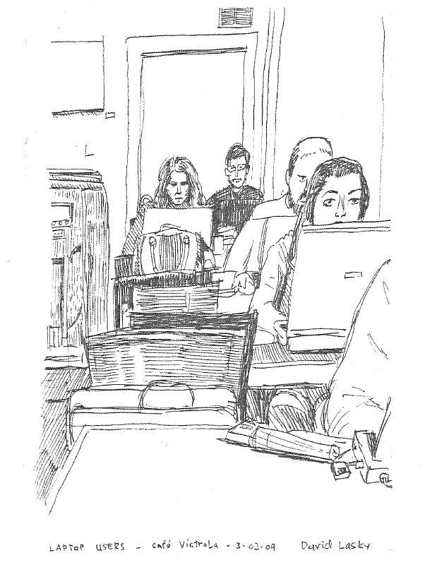 David Lasky's zine features an illustration of laptop users at Victrola.