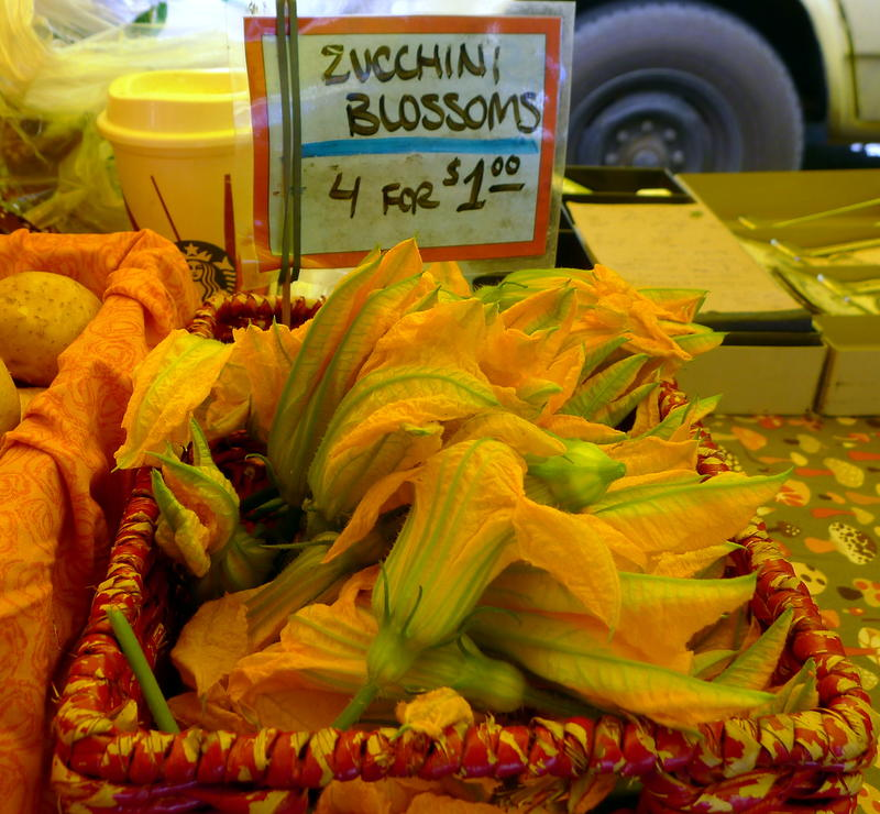 Zucchini blossoms at West Seattle Farmers Market