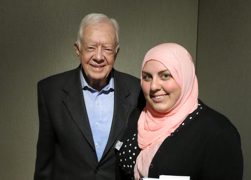 Former President Jimmy Carter in the KUOW studios in Seattle with producer Amina Al-Sadi on March 31, 2014.