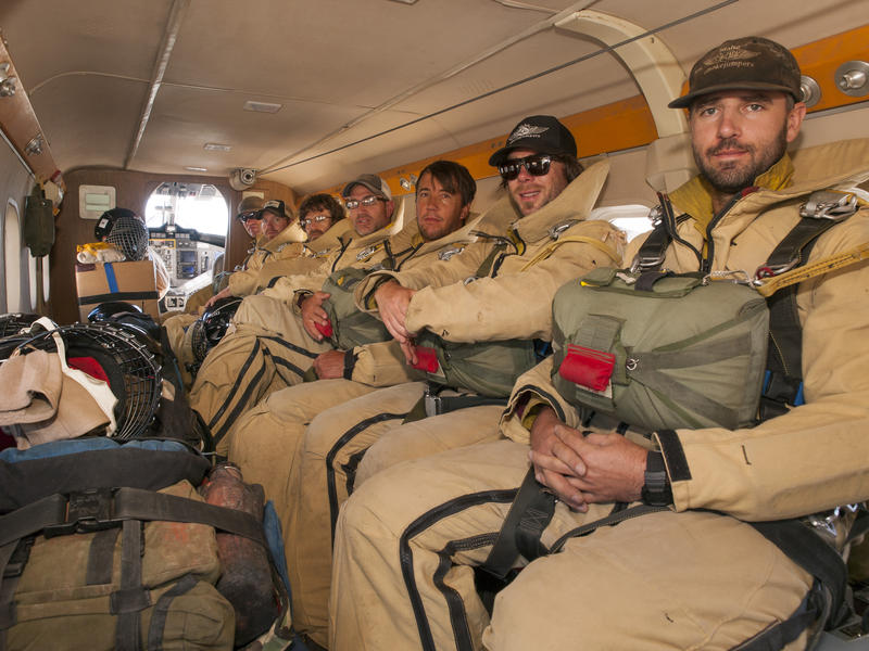 Smokejumpers from the McCall base in Idaho prepare to drop into the Payette National Forest, Idaho, on July 2, 2014.
