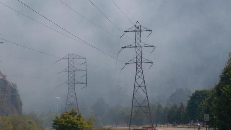 The Goodell fire burns near a power line that transmits electricity from Seattle City Light's three dams on the Skagit River to customers in Seattle and beyond.