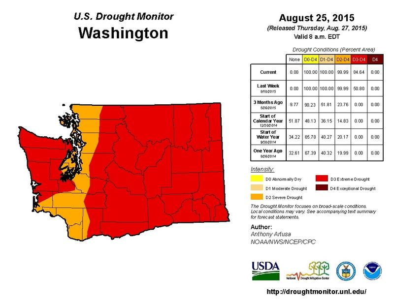 The Washington drought report for Aug. 26, 2015.