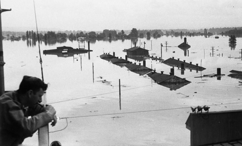 On Memorial Day, May 30, 1948, a dike at Vanport, Ore., broke and the flood engulfed the nearby Portland Air National Guard Base.