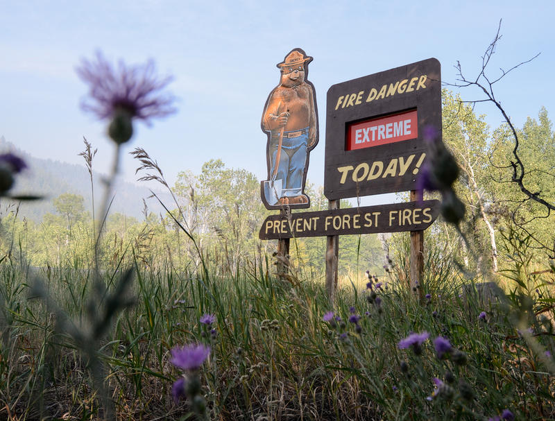 A roadside sign warns of fire danger during the Beaver Creek Fire in Idaho in 2013.