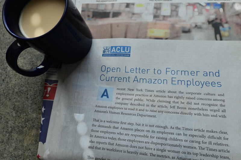 The ACLU placed a full-page ad in the Seattle TImes.