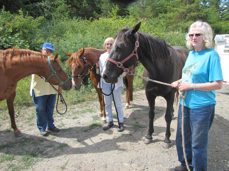 The area outside of Sequim, Washington, under consideration for a new reservoir is heavily used by locals. Jeff Becker, Donna Carpenter and Barbara Nelson enjoy trail riding there.
