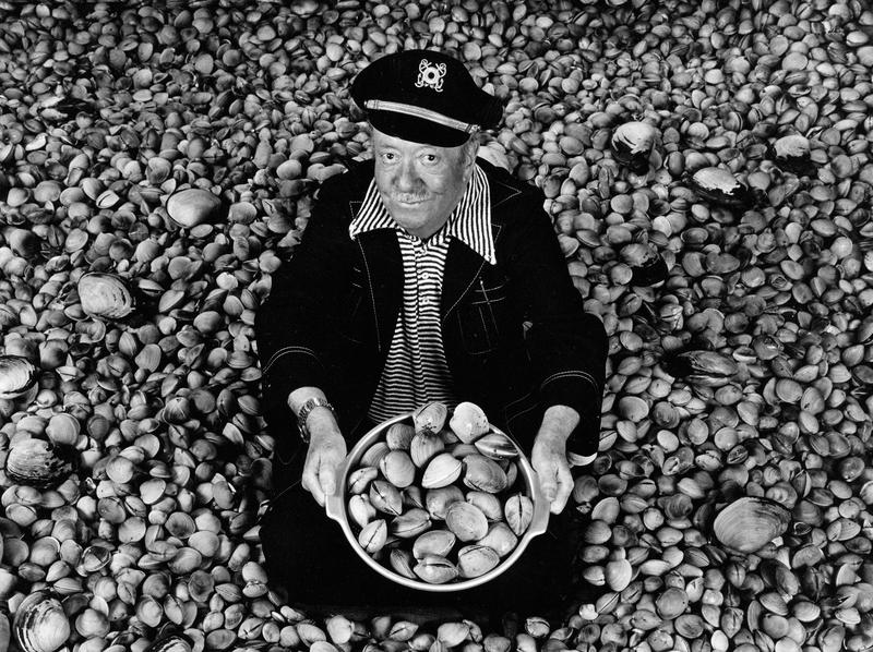 This photo at the Nordic Heritage Museum exhibit shows Ivar Haglund 'surrounded by acres of clams,' a reference to his resaturant theme song.
