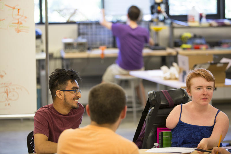 Kayla Wheeler, right, visits the University of Washington's CoMotion MakerSpace.