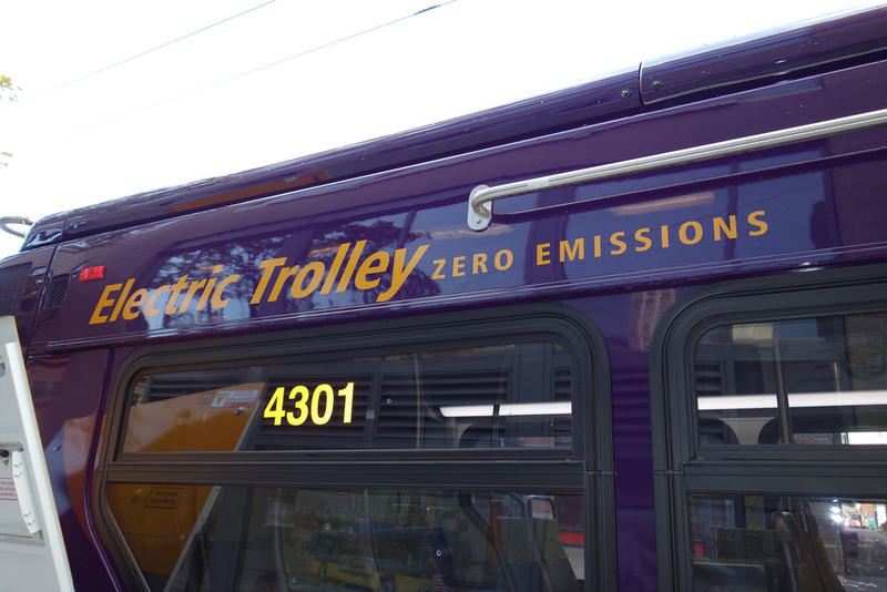 Electric trolley advertises zero emissions.