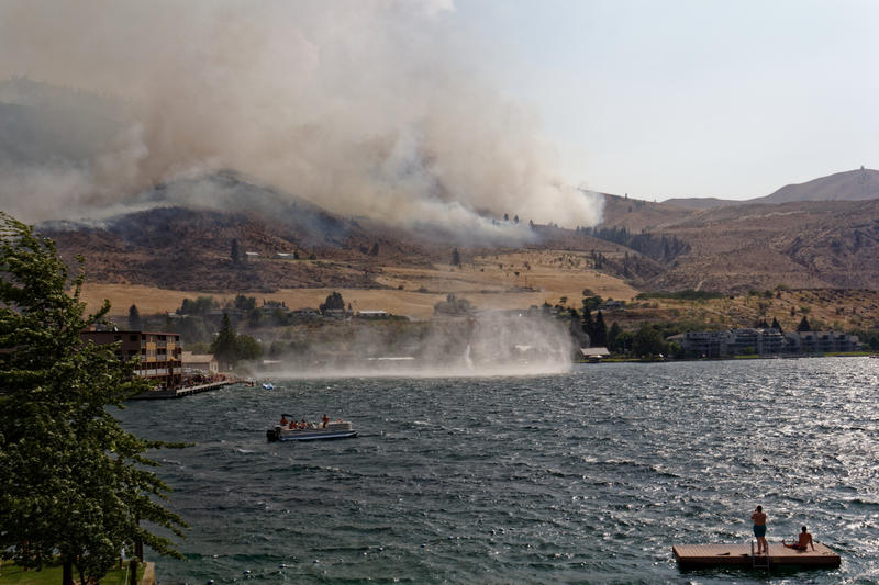 Smoke from the Chelan Butte Fire on Friday, Aug. 14.