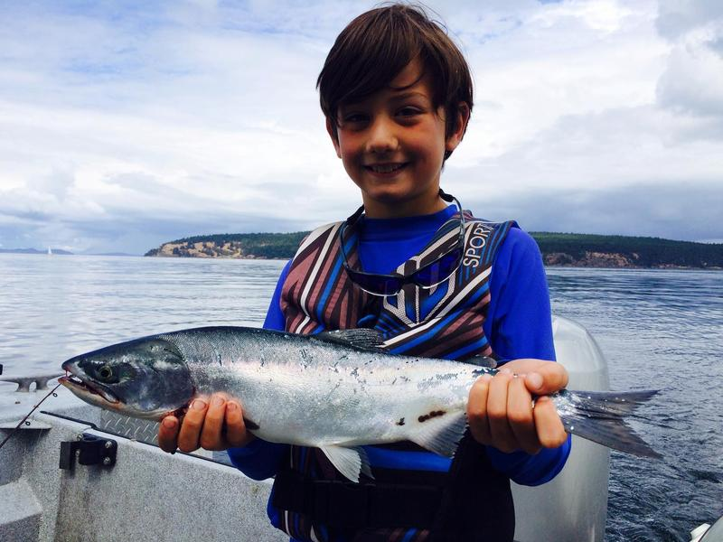 An 8-year-old boy catches a pink salmon in the San Juans off Orcas Island.
