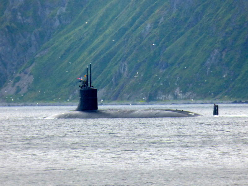 The USS Seawolf in Unalaska Bay on Aug. 14, 2015.