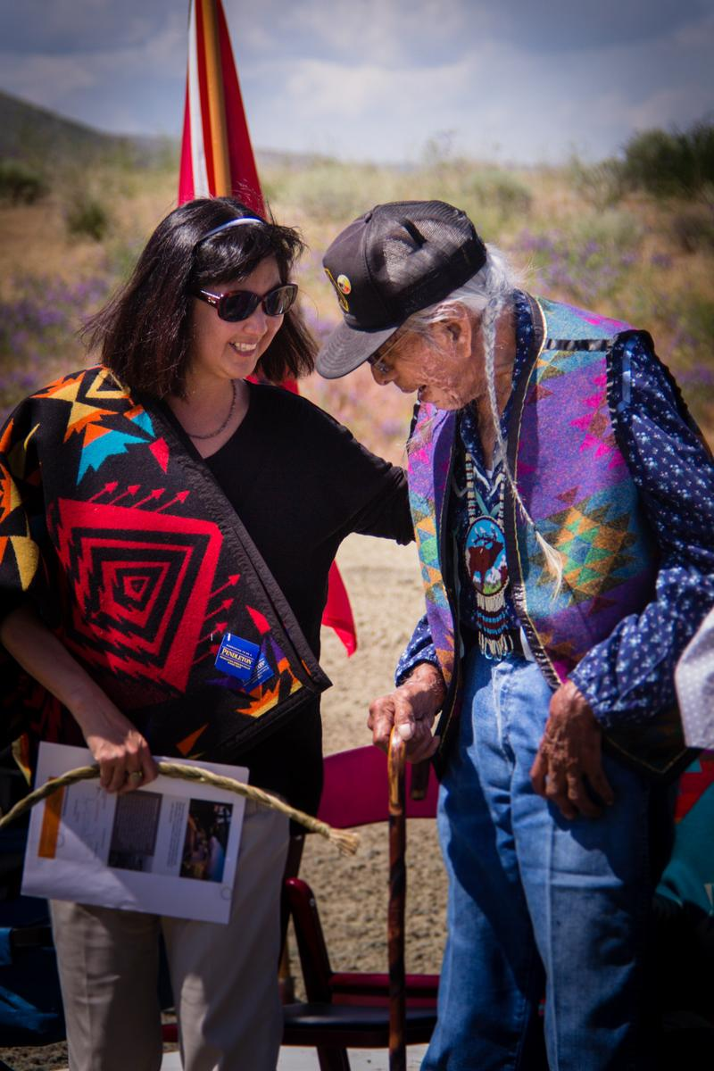 Maya Lin with Nez Perce elder Horace Axtell at our dedication ceremony for Chief Timothy Park near Clarkston, Washington.