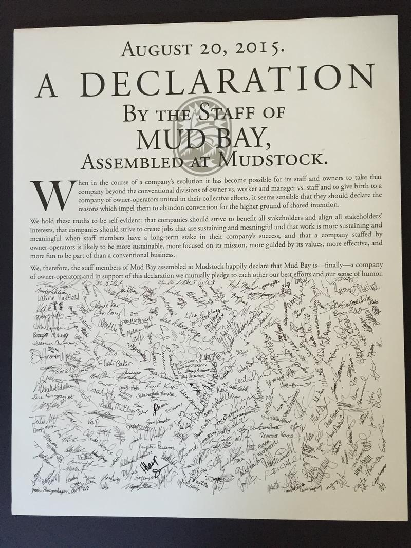 The Mud Bay 'declaration' of worker ownership.