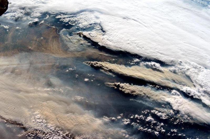 Smoke from wildfires in the Northwest stream in this photo taken from the International Space Station.