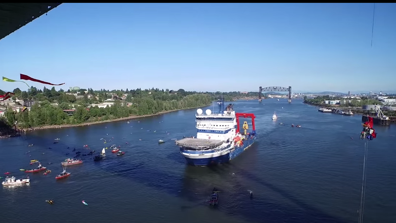 View of the Shell icebreaker leaving Portland, Oregon.