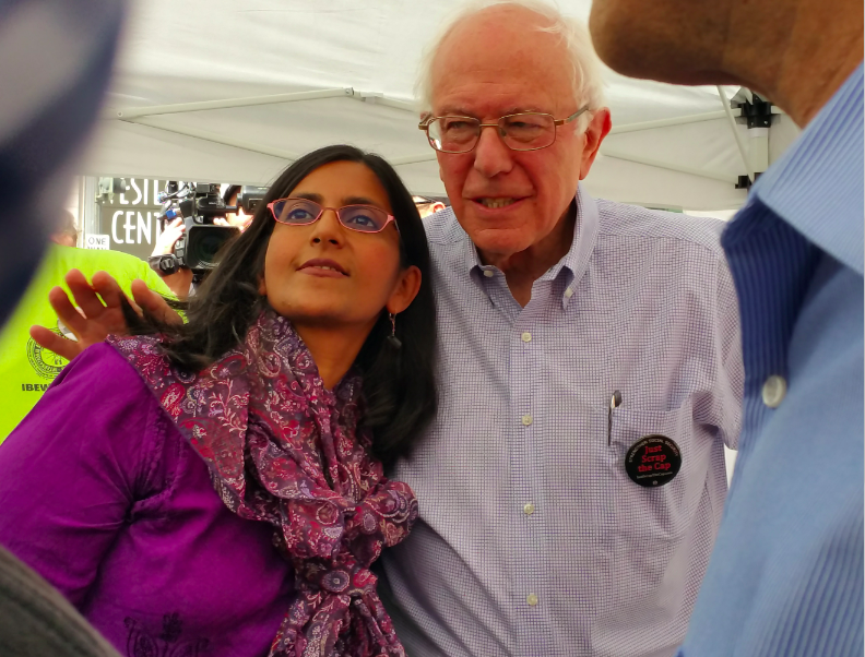 Bernie Sanders, senator from Vermont and presidential candidate, and Councilmember Kshama Sawant at a rally held at Westlake Center this fall.