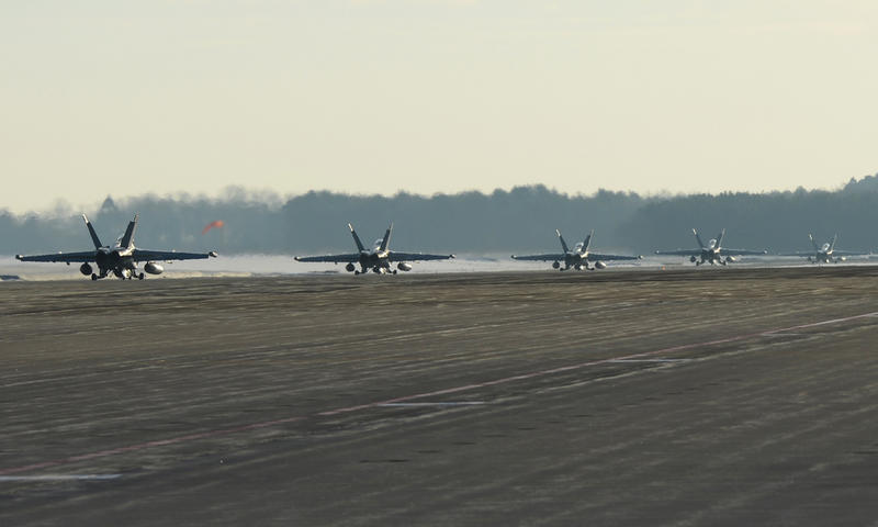 EA-18G Growlers from Electronic Attack Squadron (VAQ) 132 taxi to the runway as they prepare to to depart Naval Air Facility Misawa for their home base of Naval Air Station Whidbey Island, Wash.