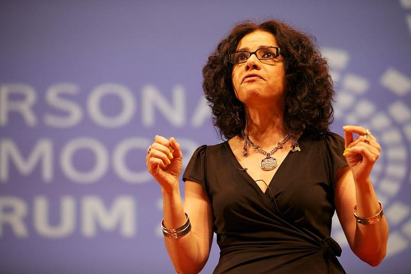 Mona Eltahawy speaking at the Personal Democracy Forum in 2011.