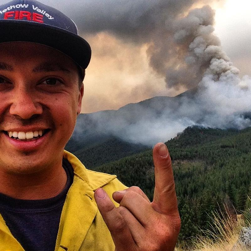 Daniel Lyon is seen this summer, his first season as a firefighter.