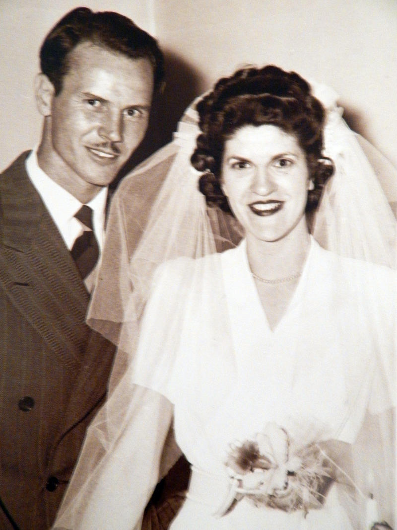 Norman Kunkel and Georgie Bright Kunkel are seen in their wedding photo after he returned from World War II.