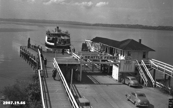 The ferry Leschi arrives at the Kirkland dock on Lake Washington in April 1946.