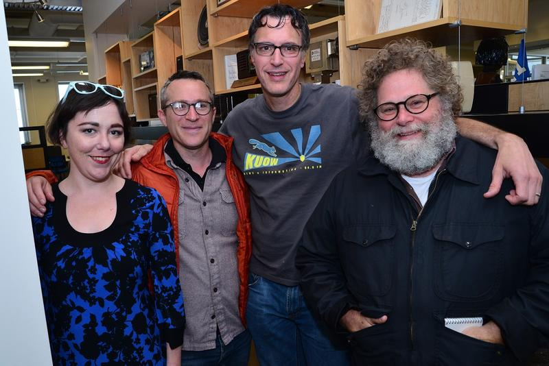 Erica C. Barnett, Eli Sanders, Bill Radke and Knute Berger after the show on Friday.