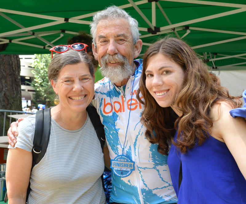 Jerry Baker is seen with wife Deborah Stephenson and daughter  Julia Baker after he finished this year's Seattle to Portland ride — his 36th STP.