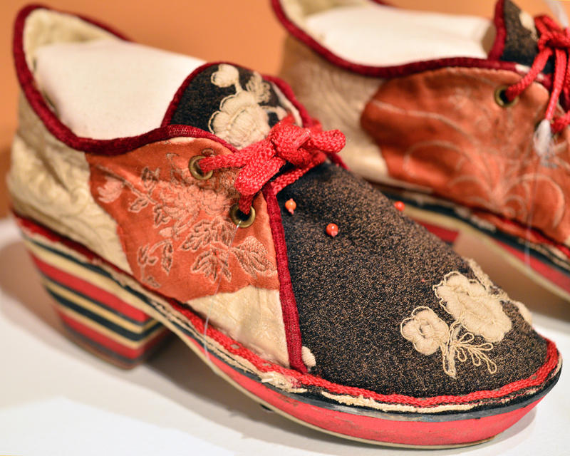 Hand-decorated shoes, one of several pairs of footwear in the