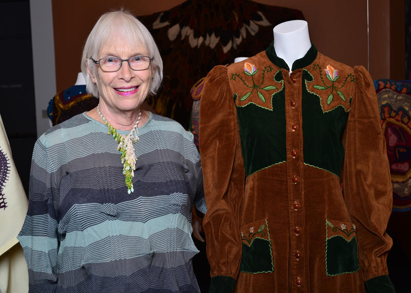 Elizabeth Mitchell next to her velvet granny dress. From 1968 to 1974, Mitchell lived in Mendocino, Calif., where she ran a small boutique called The Midnight Sewing Machine. Mitchell is one of dozens of people who lent their personal garments to BAM.