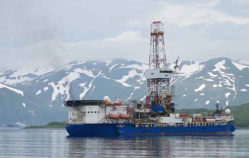 The drilling rig Noble Discoverer is shown in Alaska's Dutch Harbor before it went to the Arctic.