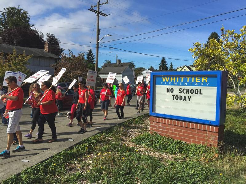 Emily McCann took this Whittier Elementary on the first day of the strike.