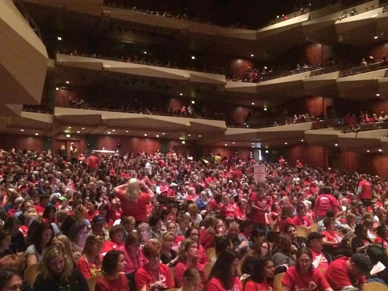 Seattle educators filled Benaroya Hall Thu., Sept. 3 to vote to authorize a strike.