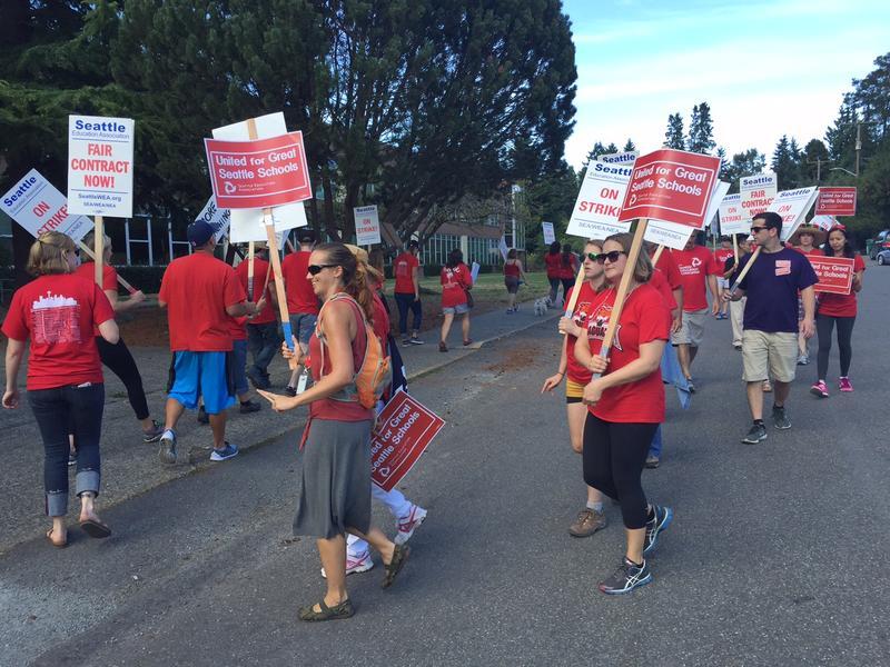 Teachers picket outside Jane Addams Middle School in Seattle's Meadowbrook neighborhood.