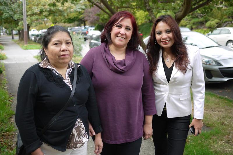 Irene Velazquez, Araceli Hernandez and Angela Escoz prepare for a 100-mile pilgrimage to greet Pope Francis.