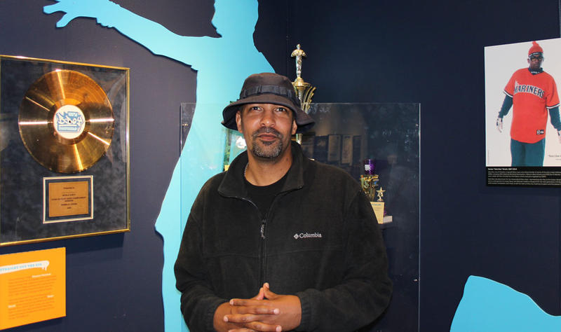 Dr. Daudi Abe, professor and historian, at the 'Legacy of Seattle Hip-Hop' exhibit at MOHAI, Sept. 2015.