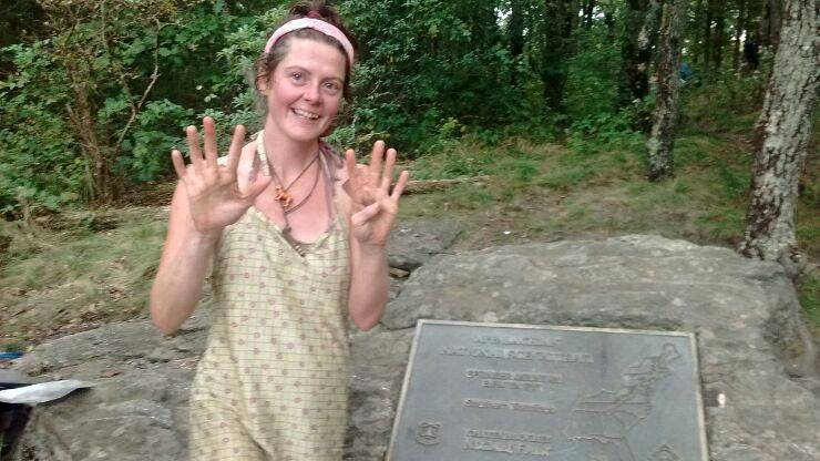 Heather Anderson, trail name Anish, posted this picture of herself after beating the Appalachian Trail unsupported record.