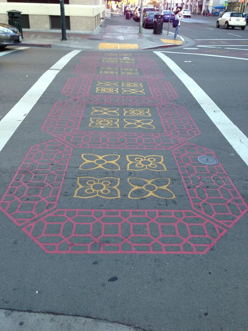 A crosswalk in Oakland's Chinatown.